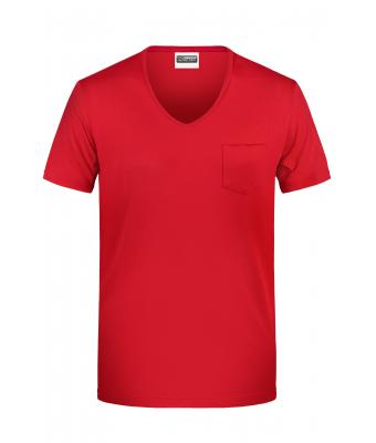 Daiber Tee Bio Shirt Homme Rouge Poche Avec DYEeWH92I