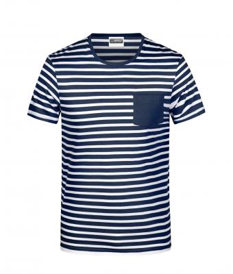 Men Men's T-Shirt Striped Navy/white 8662