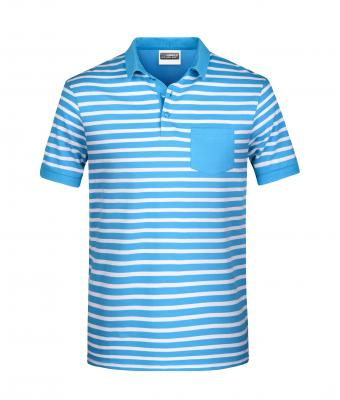 Men Men's Polo Striped Atlantic/white 8664