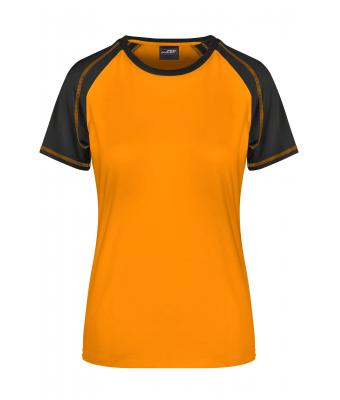 Damen Ladies' Raglan-T Orange/black 7189