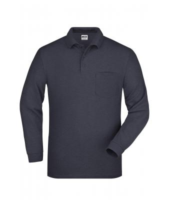 Herren Polo Piqué Long-Sleeved Anthracite 7994