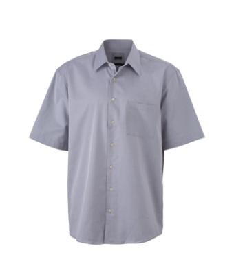 Men Business Shirt Short Light-grey 7234