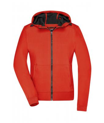 Damen Ladies' Hooded Softshell Jacket Flame/black 8614