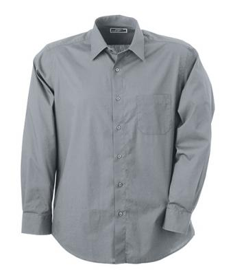 Herren Men's Shirt Classic Fit Long Cool-grey 7338