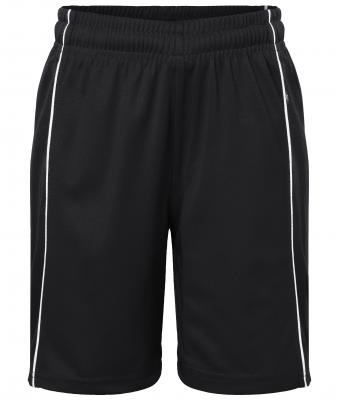 038076610f0 Kids Basic team Shorts Junior Black white-Daiber