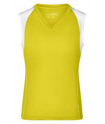 con amarillo en mujer Daibi de transpirable sin mangas V Camiseta cuello nOP0X8wk