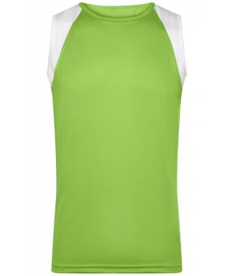 Herren Men's Running Tank Lime-green/white 7465