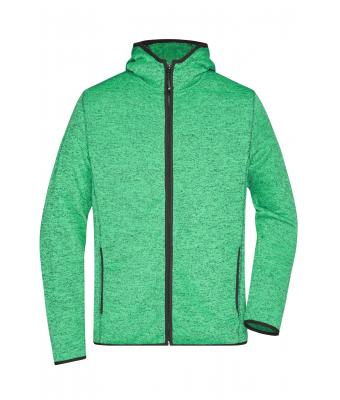 Men Men's Knitted Fleece Hoody Green-melange/black 8044