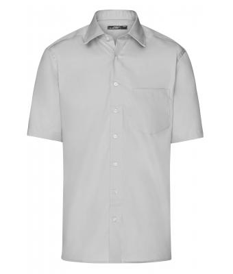 Herren Men's Business Shirt Short-Sleeved Light-grey 7531