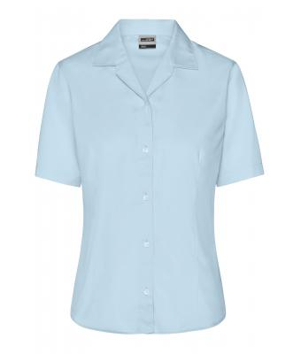 Damen Ladies' Business Blouse Short-Sleeved Light-blue 7533