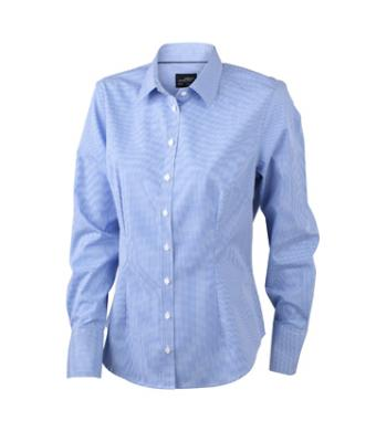 Damen Ladies' Long-Sleeved Blouse White/blue 7962