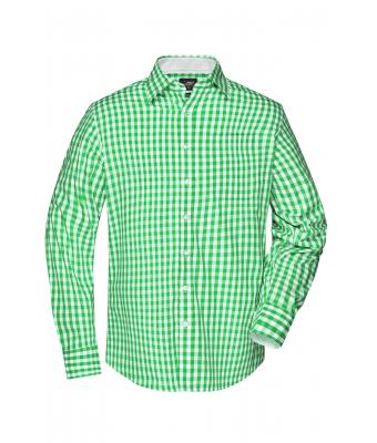 Herren Men's Checked Shirt Green/white 8054
