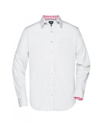 Herren Men's Plain Shirt White/red-white 8056