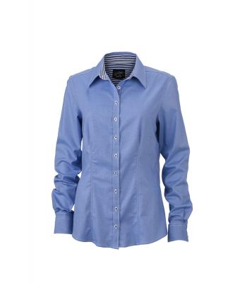 Damen Ladies' Blouse Light-blue/navy-white 8254