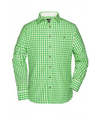 Herren Men's Traditional Shirt Green/white 8307