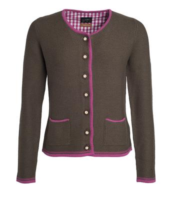 Damen Ladies' Traditional Knitted Jacket Brown-melange/purple/purple 8486