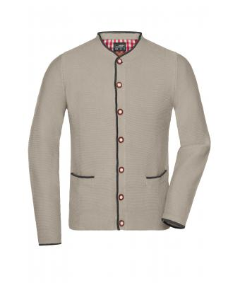 Herren Men's Traditional Knitted Jacket Beige/anthracite-melange/red 8487