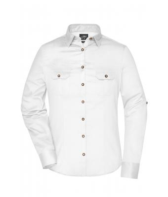 Damen Ladies' Traditional Shirt Plain White 8488