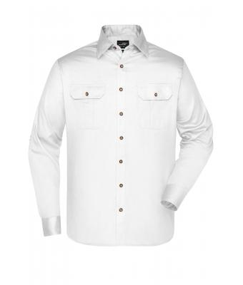 Men Men's Traditional Shirt Plain White 8489