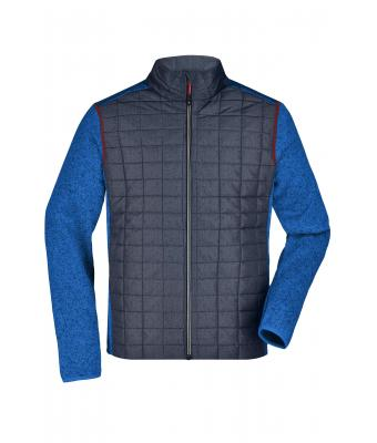 Herren Men's Knitted Hybrid Jacket Royal-melange/anthracite-melange 10460