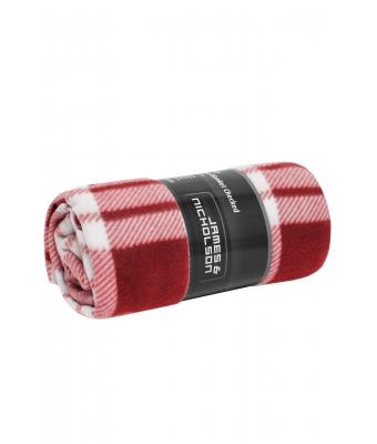 Unisex Fleece Blanket Checked Wine/off-white 8363