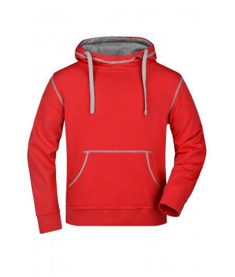 Men Men's Lifestyle Hoody Red/grey-heather 8080
