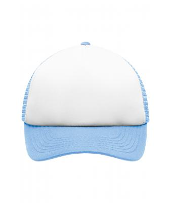 Kinder 5 Panel Polyester Mesh Cap for Kids White/light-blue 7623