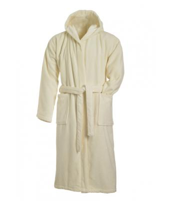 Unisex Bath Robe Hooded Natural 7672