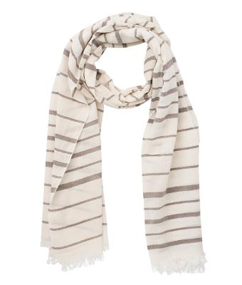 Unisex Striped Summer Scarf Natural/brown 8555