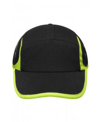 Unisex Running 4 Panel Cap Black neon-yellow-Daiber bc0a99d74c2