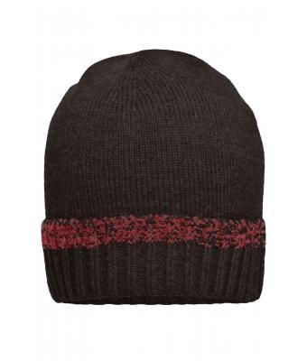 Unisexe Bonnet traditionnel Anthracite-mélange/rouge 8511