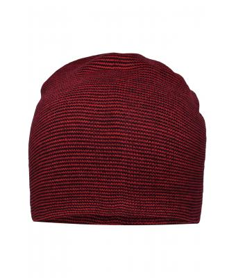 Unisexe Bonnet long casual Rouge-indien/noir 8514