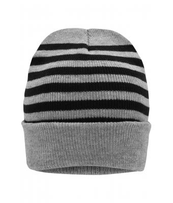 Unisex Striped Winter Beanie Light-grey-melange/black 8700