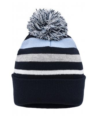 Unisex Striped Winter Beanie with Pompon Navy/light-blue 8699