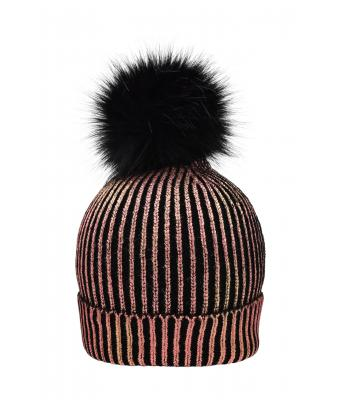 Unisex Ladies' Metallic Beanie Bronze/black 8716
