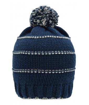 Unisex Knitted Winter Beanie with Pompon Navy/light-grey 10220