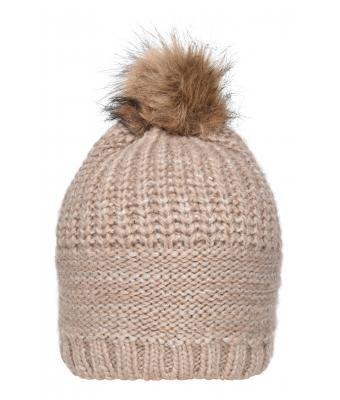 Unisex Knitted Hat with Shiny Effect Natural 8240